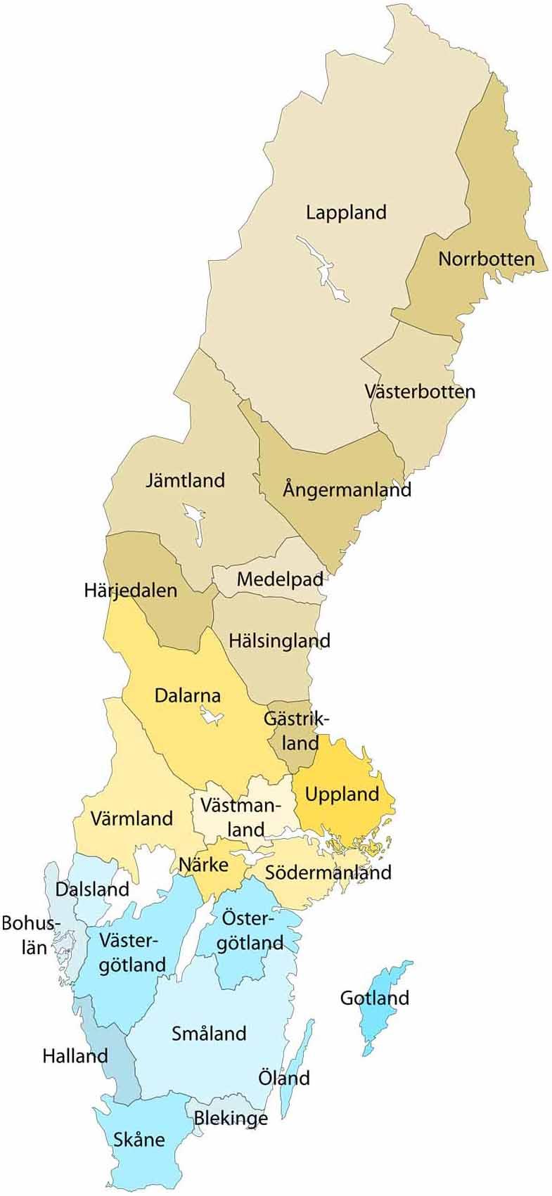 sverige kart med län Sveriges 25 landskap sverige kart med län