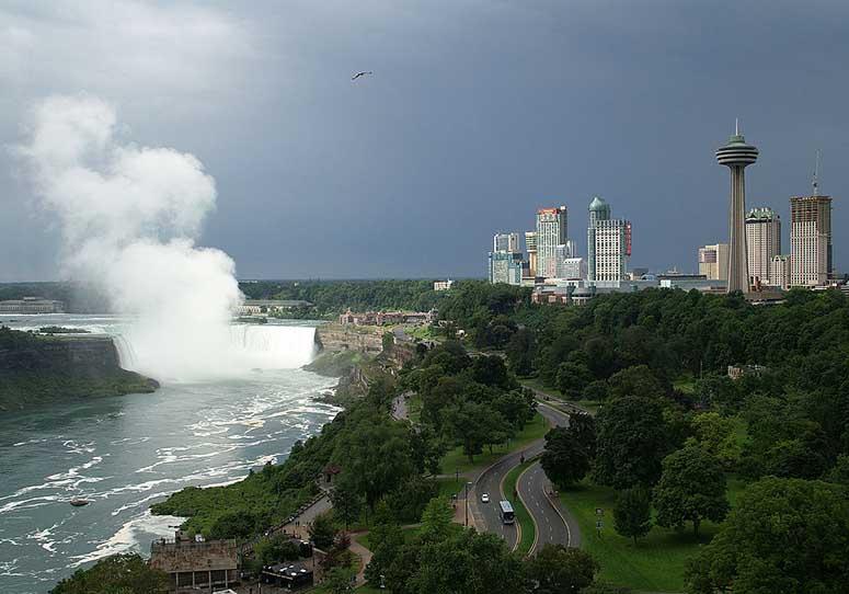 Niagarafallen och staden Niagara Falls, Kanada